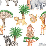 Akwarela bezszwowe wzór z afrykańskich drzew i zwierząt. Tekstury do pakowania, scrapbookingu, tekstyliów, tkanin, tapet. - 255519937