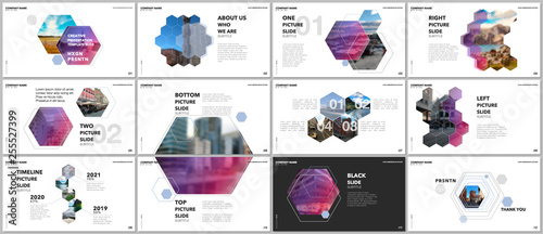 Fotografie, Obraz  Minimal presentations design, portfolio vector templates with hexagons and hexagonal elements