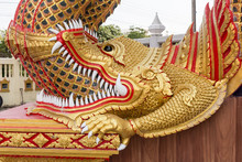 Naga Statue Or King Of Nagas In The Temple.