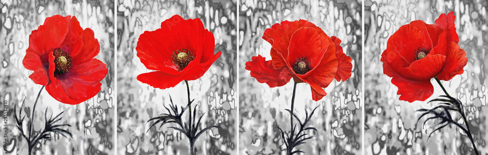 Collection of designer oil paintings. Decoration for the interior. Modern abstract art on canvas. Painting set.  Red poppy.