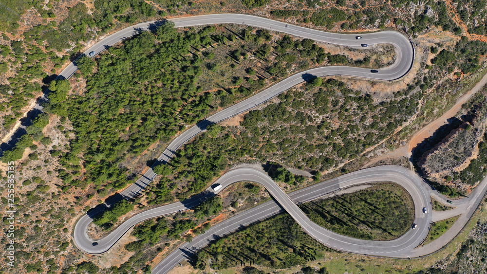 Fototapety, obrazy: Aerial drone top view photo of snake curvy road built in steep mountain slope