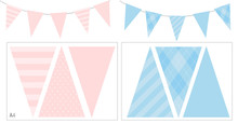 Blue And Pink Party Banner Fla...