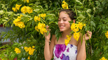 Young Girl In Flowered Dress S...