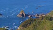 aerial view with drone of the pacific ocean coast of Chiloé Island