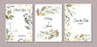 Set of cards with gold and green leaves, wild herbs. Decorative invitation to the holiday. Wedding, birthday. Universal card. Template for text. Vector illustration.