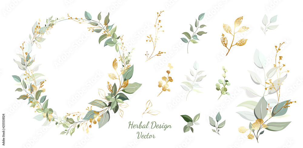 Fototapeta Wreath. Flower frame with gold and green leaves. Vector Invitation design. Set of leaves. Background to save the date.Greeting card.