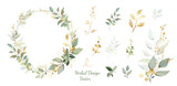 Fototapeta Kwiaty - Wreath. Flower frame with gold and green leaves. Vector Invitation design. Set of leaves. Background to save the date.Greeting card.