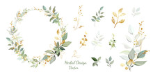 Wreath. Flower Frame With Gold And Green Leaves. Vector Invitation Design. Set Of Leaves. Background To Save The Date.Greeting Card.