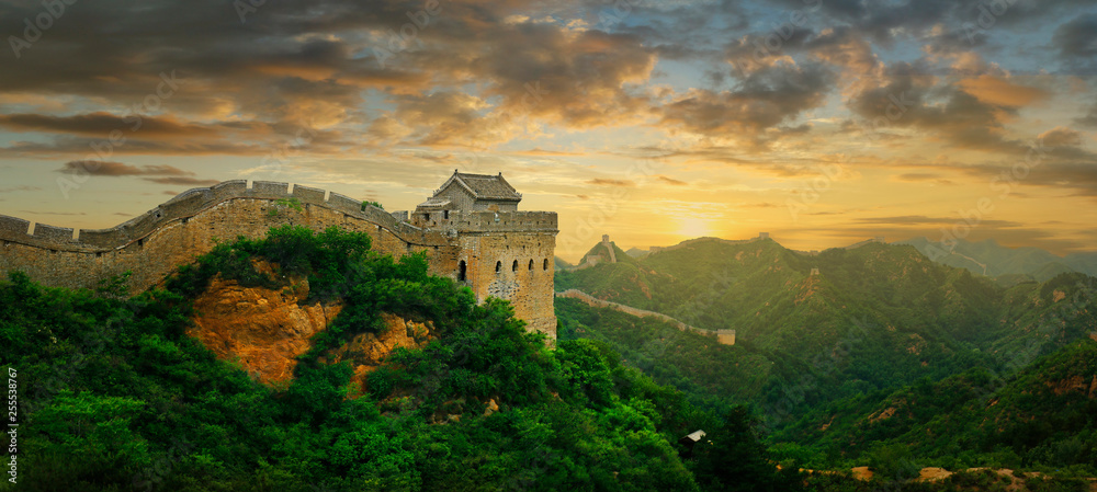 Sunset on the great wall of China,Jinshanling