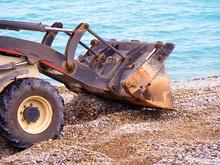 Bulldozer Working On A Beach. ...