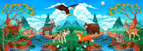 Spoed Foto op Canvas Kinderkamer Funny wood animals in a mountain landscape with river
