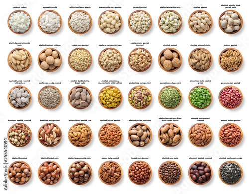 collection nuts and seeds isolated on white background. pecans, hazelnuts, walnuts, pistachios, almonds, macadamia, cashews, peanuts, sunflower, coconut, apricot kernel, pumpkin seeds, pine and brazil Wall mural