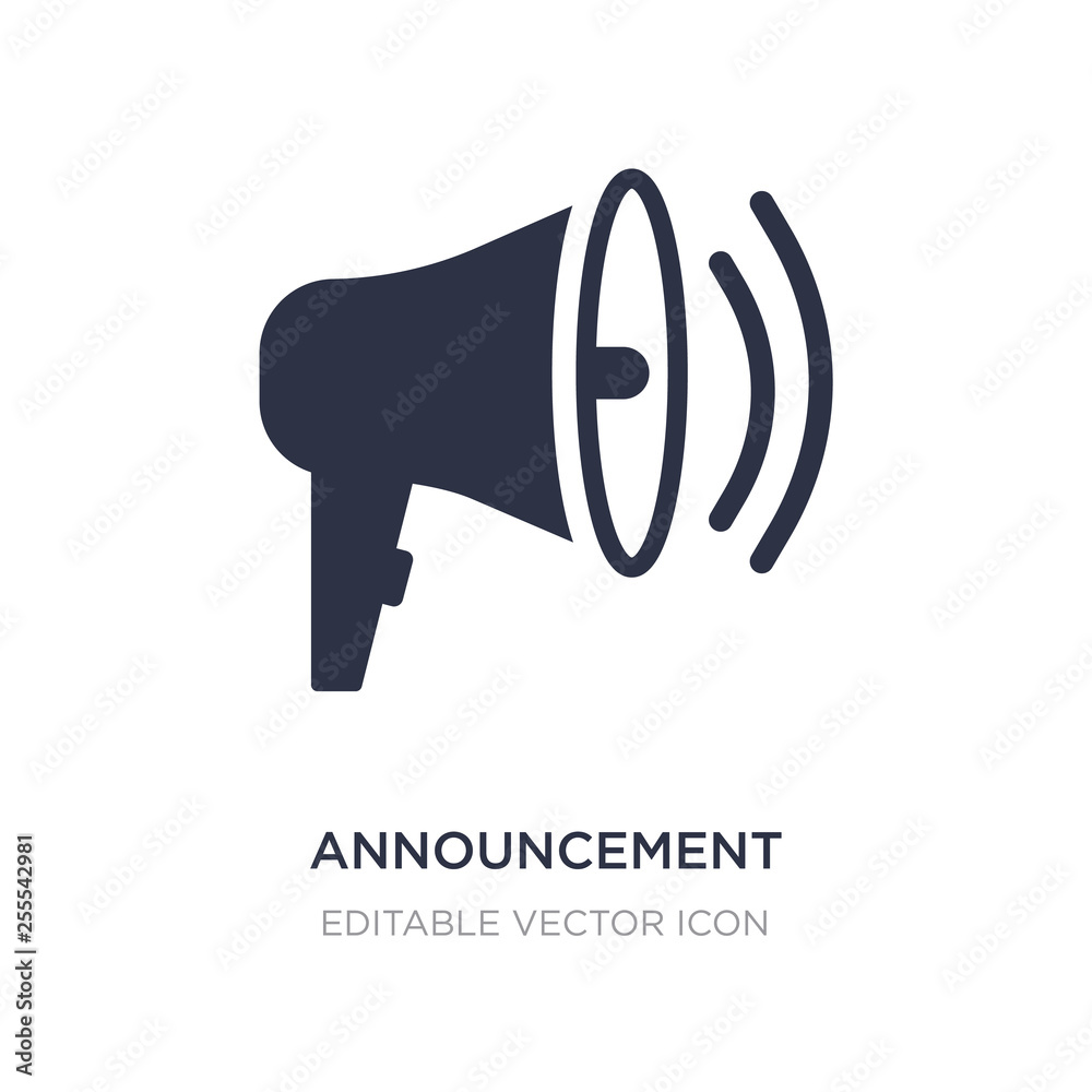 Fototapeta announcement icon on white background. Simple element illustration from Social media marketing concept.