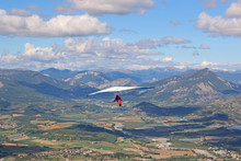 Hang Glider Flying From The Chabre Mountain, France