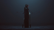 Futuristic Demon Nun In A High Split Dress And Face Mask Abstract Demon Assassin With Samurai Sword And The Power Of Telekinesis Front 3d Illustration 3d Render