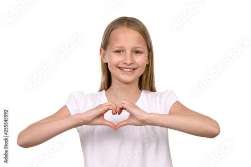 Fotografie, Obraz Junges Mädchen fort mit den Händen ein Herz