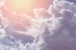 Leinwandbild Motiv sun and cloud background with a pastel colour