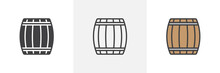 Wooden Keg, Barrel Icon. Line,...