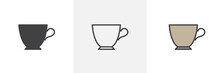Espresso Cup Icon. Line, Glyph And Filled Outline Colorful Version, Cup Of Tea Outline And Filled Vector Sign. Breakfast Symbol, Logo Illustration. Different Style Icons Set. Vector Graphics