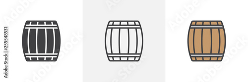 Wooden keg, barrel icon Fototapet