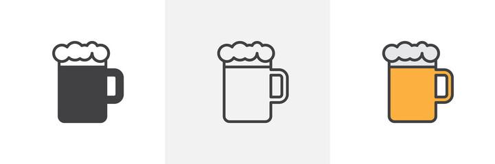 Šalica za pivo s ikonom od pjene. Linija, glif i ispunjeni obris šarene inačice, obris čaše piva i ispunjeni vektorski znak. Bar, simbol pivnice, ilustracija logotipa. Set različitih ikona stila. Vektorska grafika