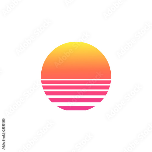 Photo  Isolated sunset gradient on white background.