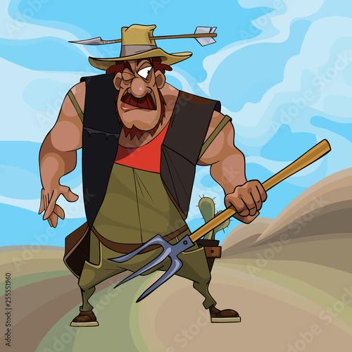 Obraz na plátne cartoon funny farmer defends himself with a pitchfork in his hand