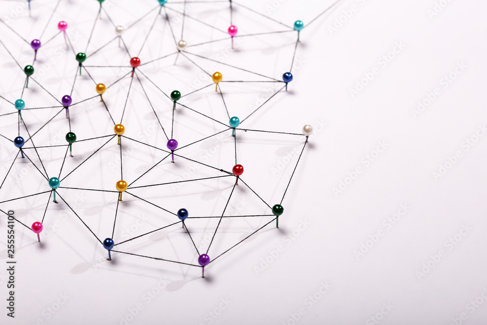 Fototapety, obrazy: Linking entities. Network, networking, social media, internet co