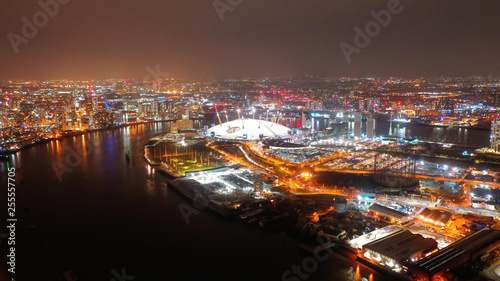 Fototapeta Aerial night shot from iconic public O2 Arena in Greenwich Peninsula, London, United Kingdom obraz na płótnie