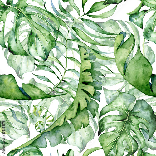 Tapeta zielona  tropical-watercolor-seamless-pattern-with-green-leaves-illustration