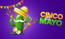 Purple Flyer Or Poster Design Decorated With Colorful Bunting And Maracas Instrument For Cinco De Mayo Party Celebration.