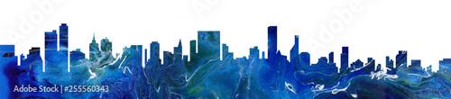 Carta da parati  Modern cityscape blue abstract paint background