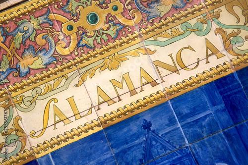 Salamanca Sign; Plaza de Espana Square; Seville