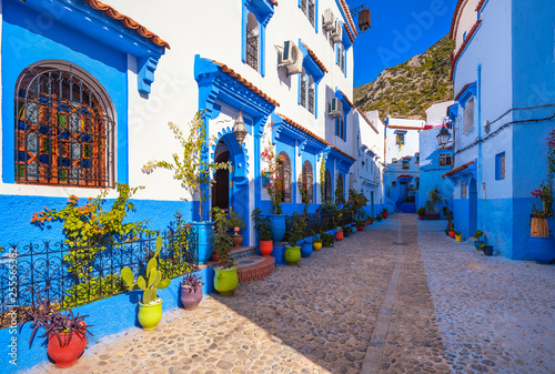 Photo  Blue walls of Chefchaouen city medina in Morocco with bright doors and colorful flower pots with sun light