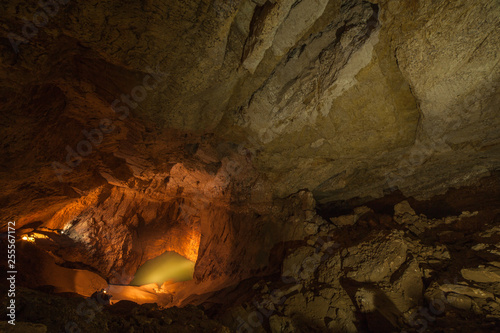 Underground lake in the New Athos cave, Abkhazia