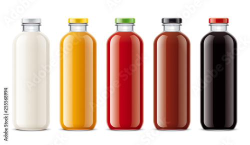 Cadres-photo bureau Jus, Sirop Bottles for juice, dairy drinks and other.