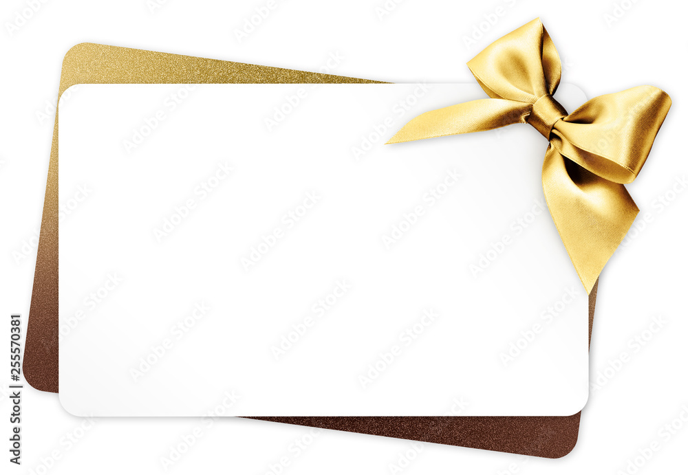 Fototapeta gift card with golden ribbon bow Isolated on white background
