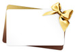 canvas print picture - gift card with golden ribbon bow Isolated on white background