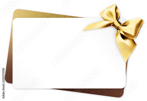 Obraz gift card with golden ribbon bow Isolated on white background - fototapety do salonu