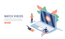 People Streaming Online Video With Their Laptop, Smartphone Vector Illustration Concept, Online Tutorial Video Streaming
