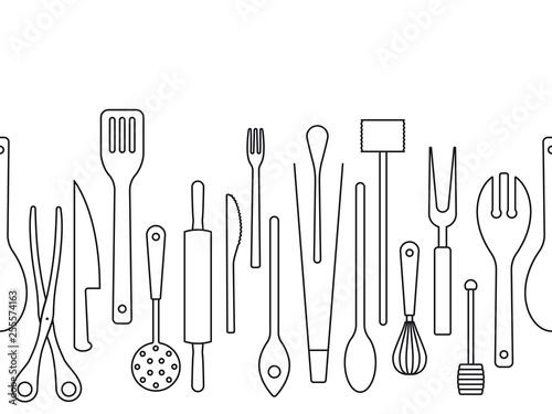 Fotografiet Cooking utensils outlines seamless border