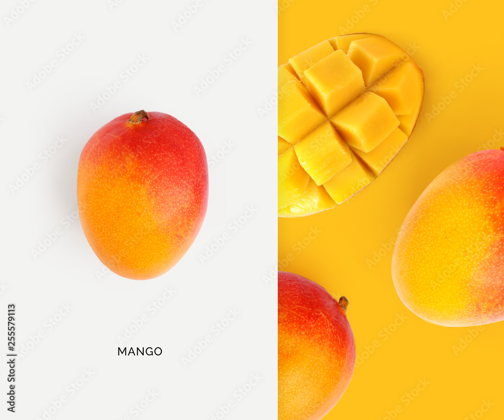 Fototapety, obrazy: Creative layout made of mango. Flat lay. Food concept. Macro concept.