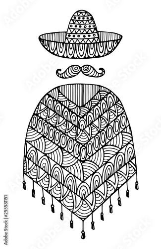 Decorative poncho and sombrero. Canvas Print