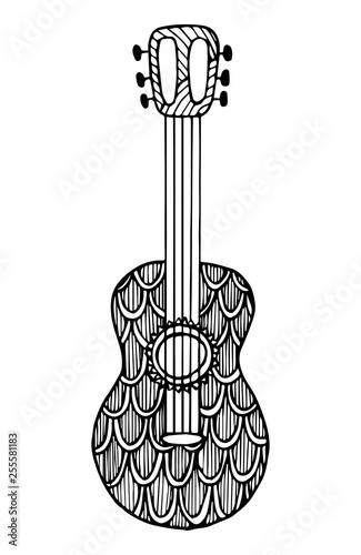 Photo  Decorative guitar.