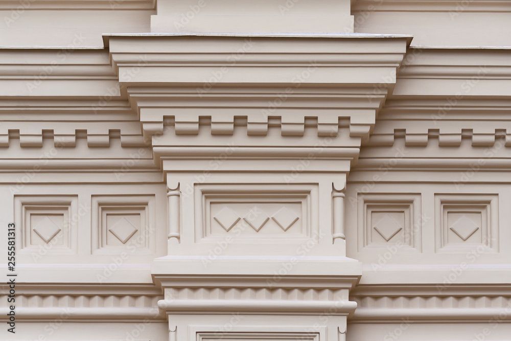 Fototapety, obrazy: Fragment of the relief frieze with geometric pattern  on the wall of beige stone ancient building