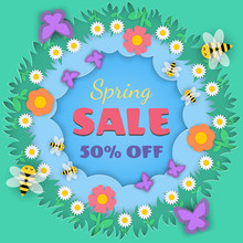 Spring Sale Banner In Frame Of Floral, Flowers, Meadow And Insect On Paper Cut Background For Seasonal Design Of Promotion Or Advertising Banner, Vector Illustration