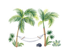 Watercolor Illustration, Hammock Stretched Between Palm Trees.