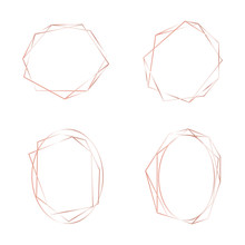 Geometric Set Rose Gold Frames. Logo Background For Beauty And Fashion