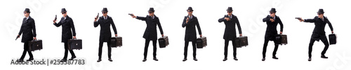 Fotografía Man spy with handgun isolated on white background
