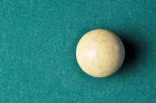 Old Billiard Ball  White Color On Green Billiard Table, Copy Space